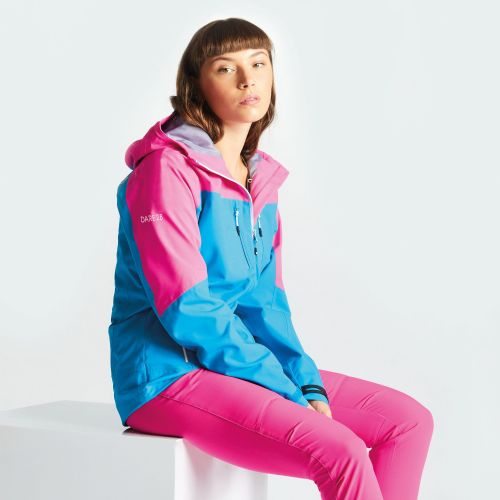 Dare2b Women's Surfiest AEP Seamsmart Lightweight Hooded Waterproof Jacket Blue Jewel Cyber Pink
